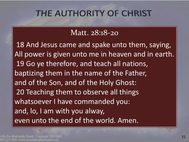 THE AUTHORITY OF CHRIST