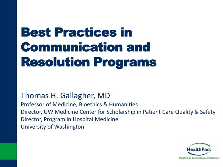 best practices in communication and resolution programs n.
