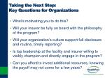 taking the next step key questions for organizations