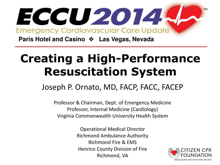 creating a high performance resuscitation system n.