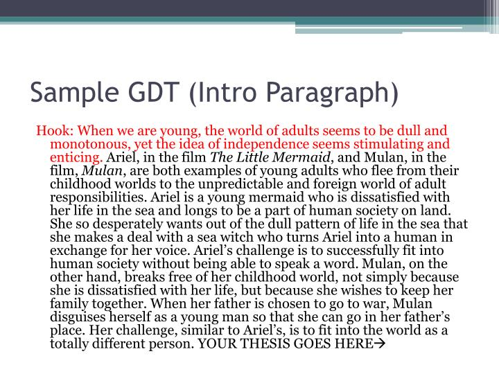 Sample GDT (Intro Paragraph)
