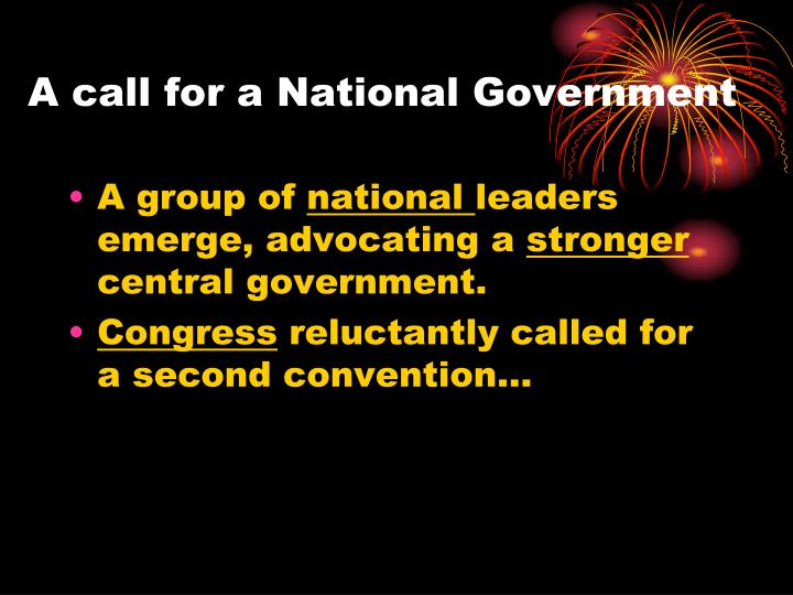 A call for a National Government
