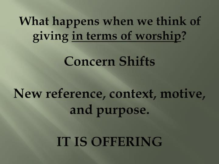 What happens when we think of giving