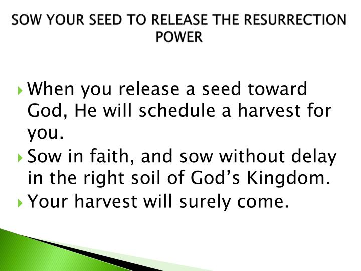 SOW YOUR SEED TO RELEASE THE RESURRECTION POWER