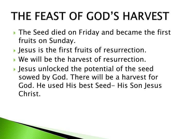 THE FEAST OF GOD'S HARVEST