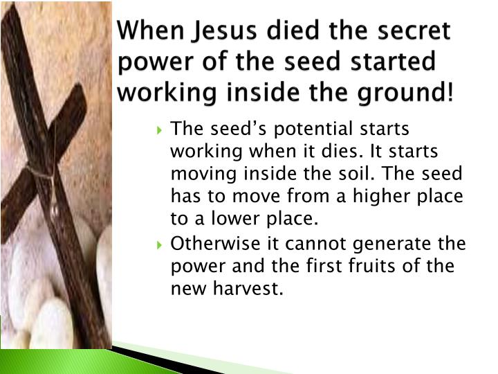 When Jesus died the secret power of the seed started working inside the ground!