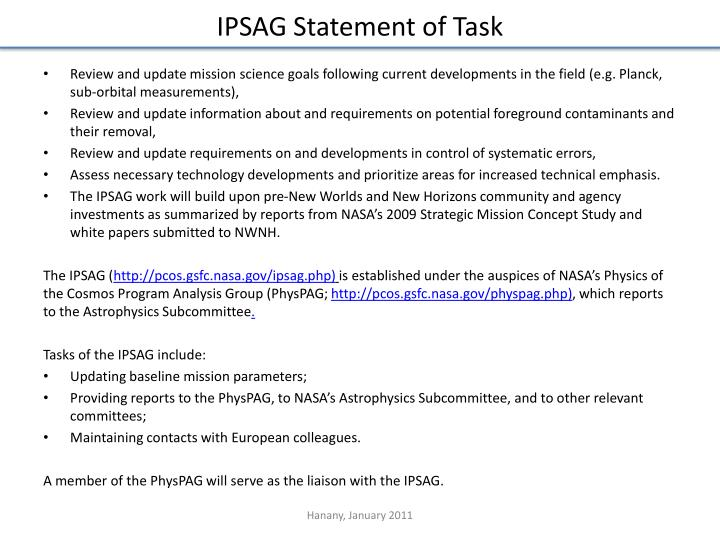 IPSAG Statement of Task