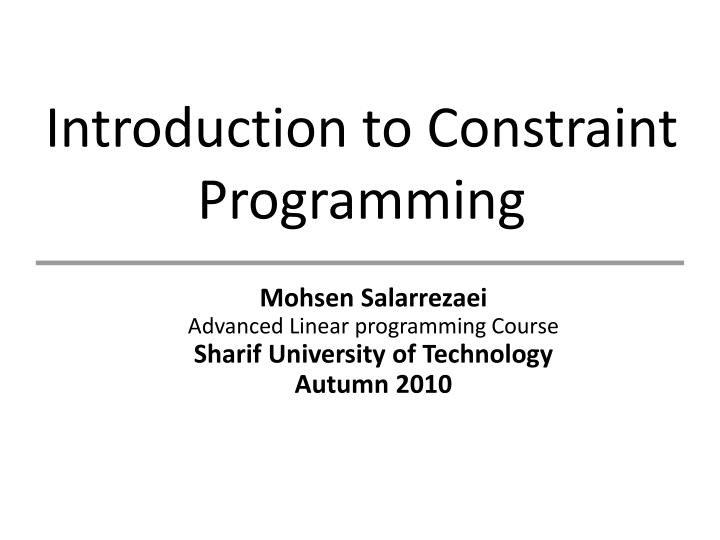 linear programming and constraint The first stage of the algorithm might involve some preprocessing of the constraints (see interior-point-legacy linear programming) several conditions might cause linprog to exit with an infeasibility message.