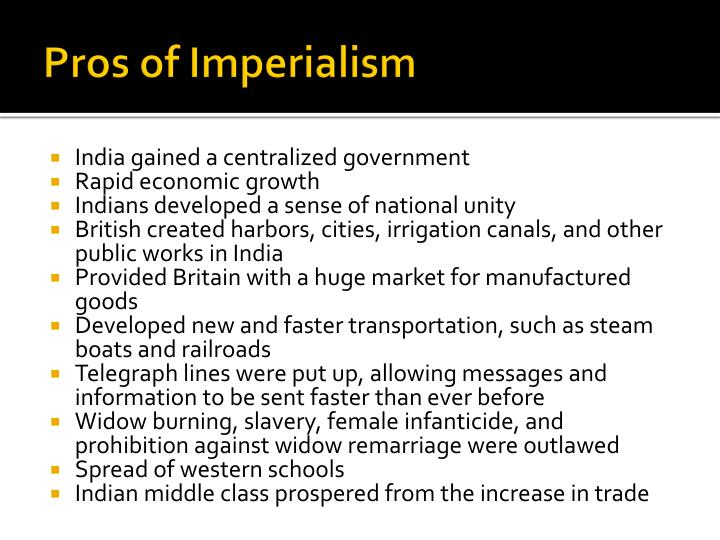 Pros of Imperialism