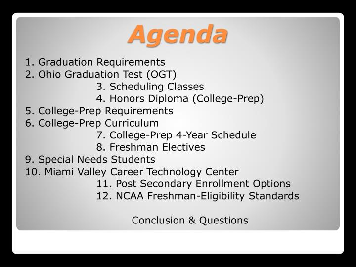1. Graduation Requirements