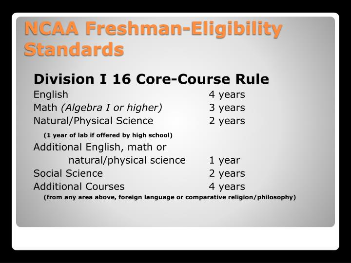 Division I 16 Core-Course Rule