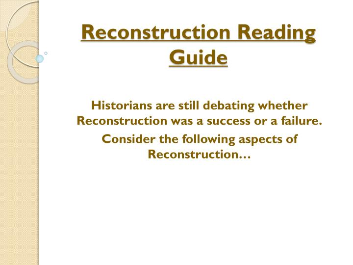 reconstruction reading guide n.