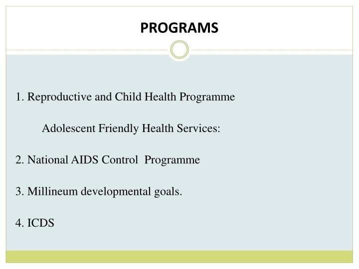 Adolescent Health Programs: