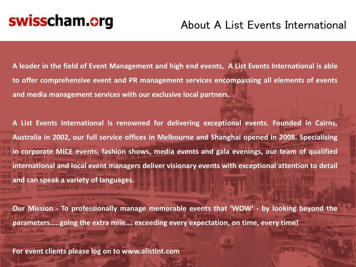 About A List Events International