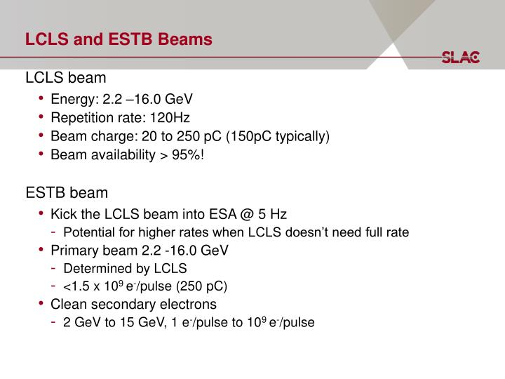LCLS and ESTB Beams