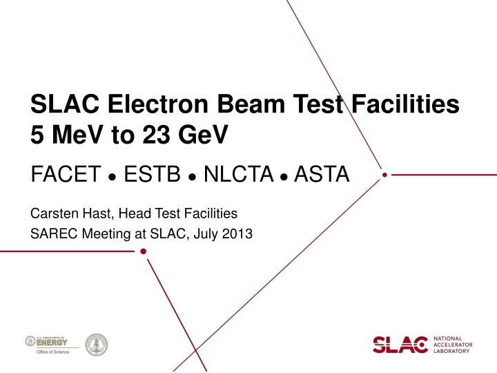 Slac electron beam test facilities 5 mev to 23 gev