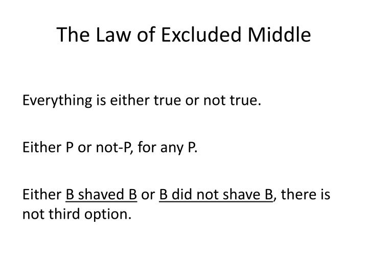 The Law of Excluded Middle