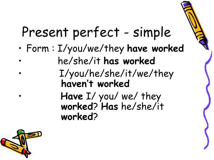 Present Perfect Tense настоящее совершенное время в