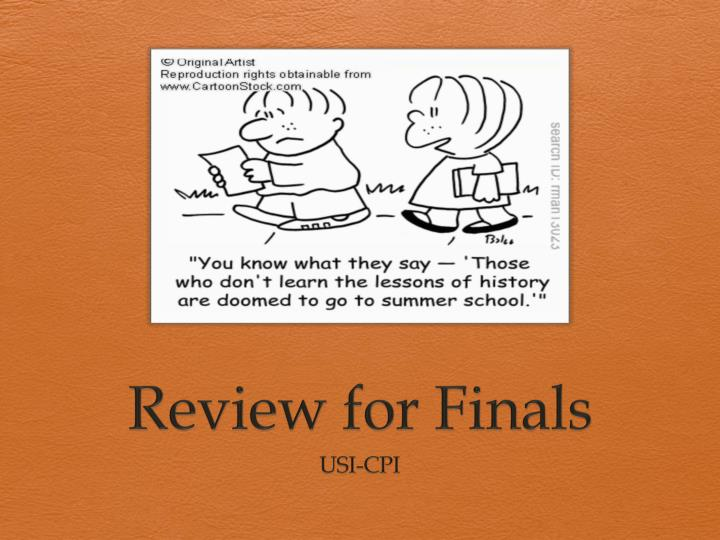 review for finals n.