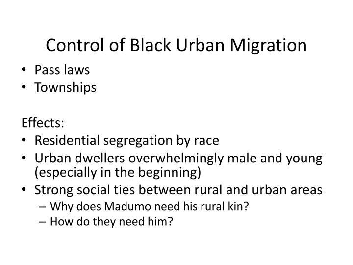 Control of black urban migration
