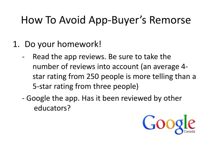How To Avoid App-Buyer's Remorse