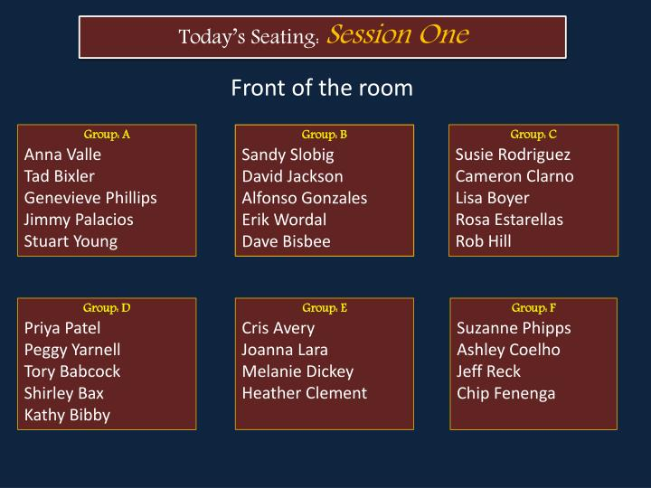 Today's Seating:
