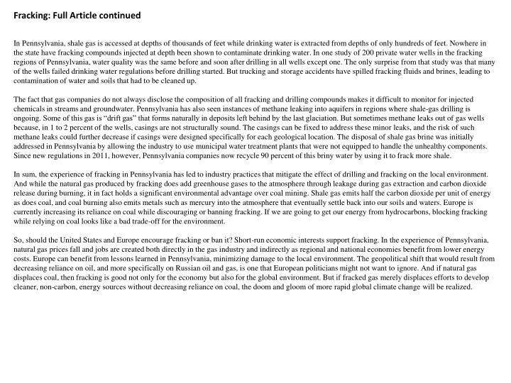Fracking: Full Article continued