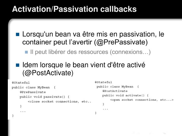 Activation/Passivation callbacks