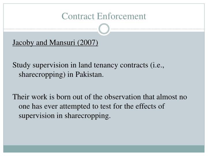 Contract Enforcement