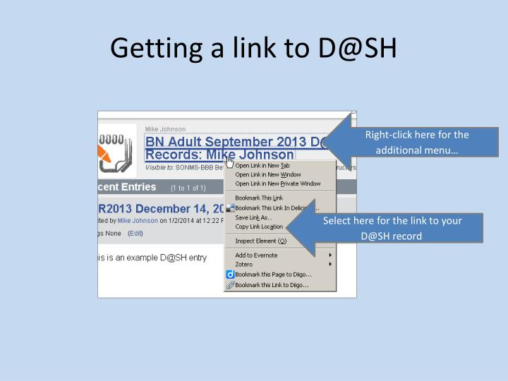 Getting a link to D@SH