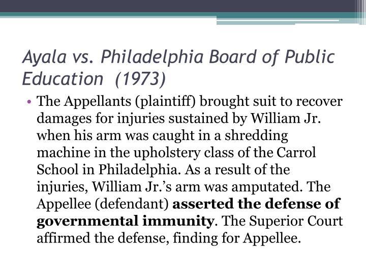 Ayala vs. Philadelphia Board of Public Education  (1973)