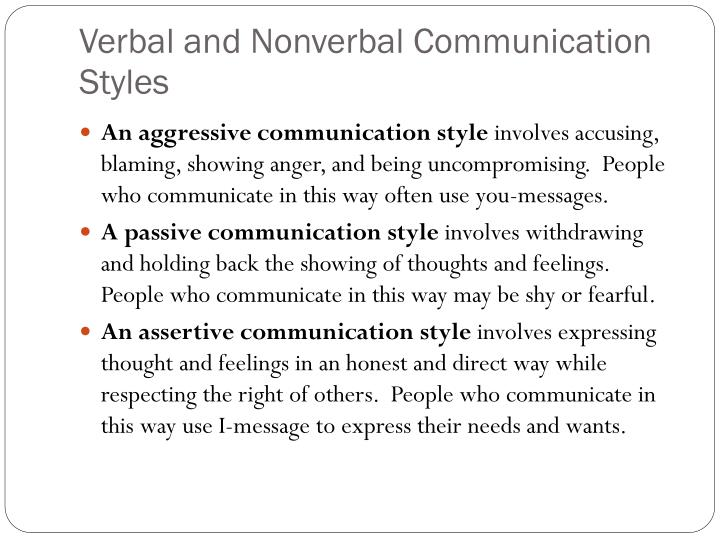 Verbal and Nonverbal Communication Styles