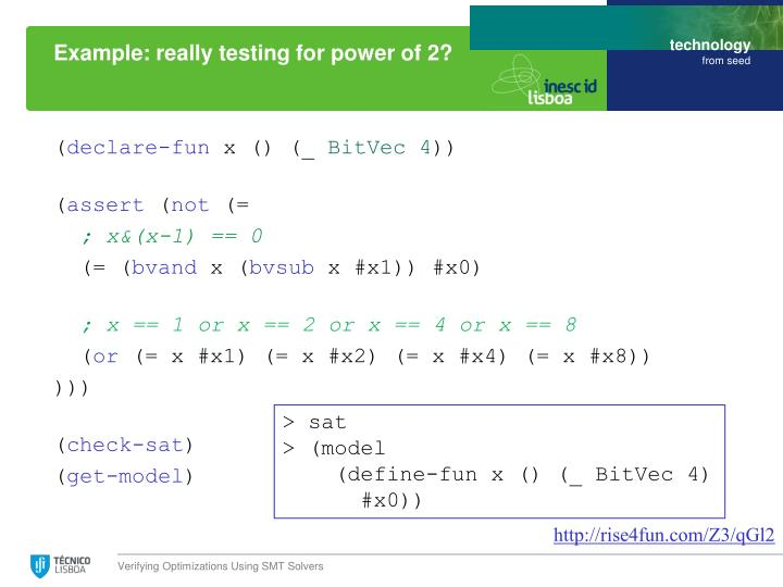 Example: really testing for power of 2?