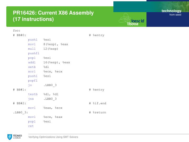 PR16426: Current X86 Assembly