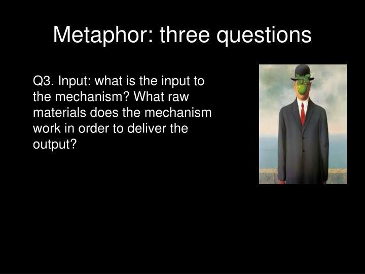 Metaphor: three questions