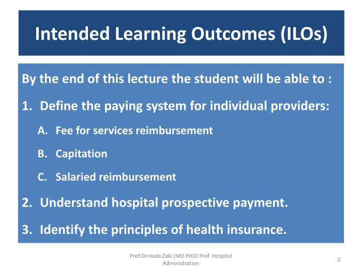 Intended learning outcomes ilos