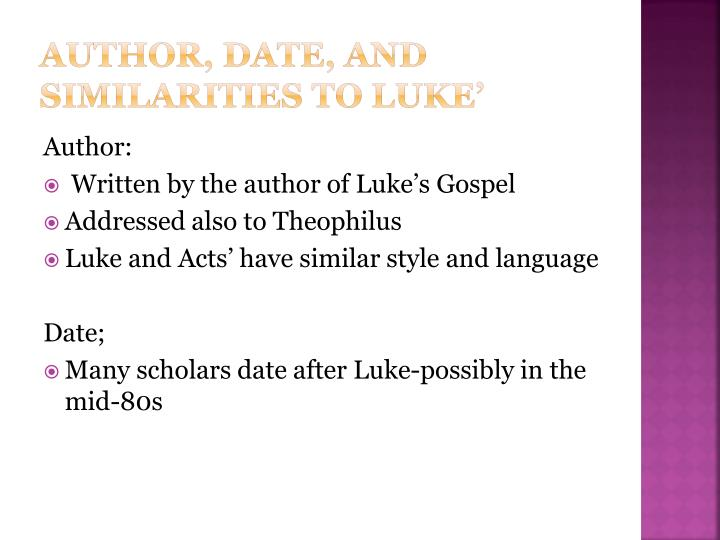 Author date and similarities to luke