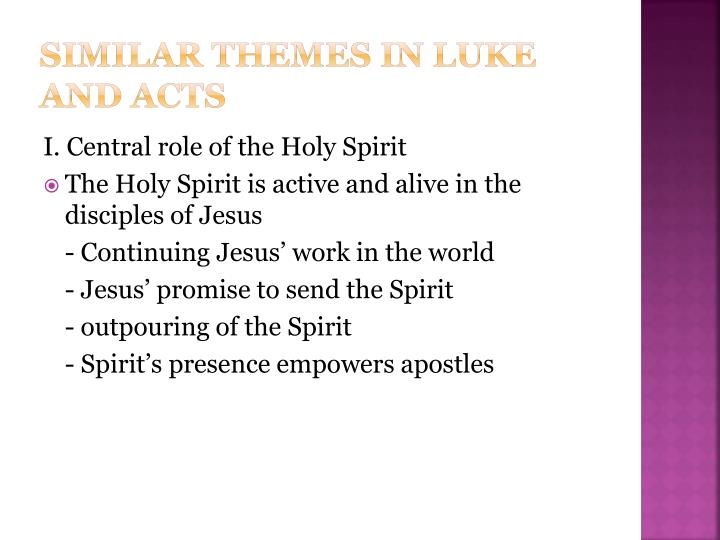 Similar themes in luke and acts