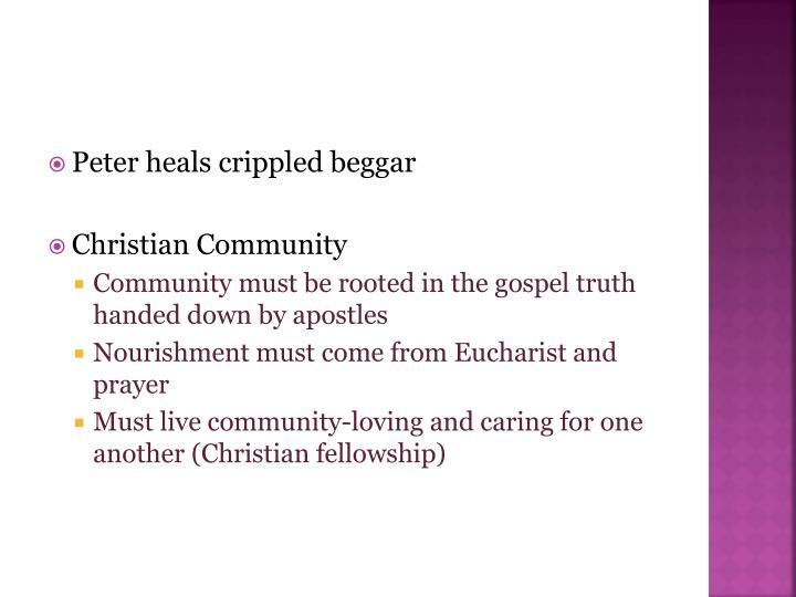 Peter heals crippled beggar
