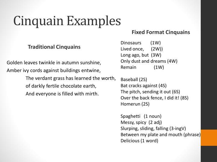 Cinquain rules & examples.