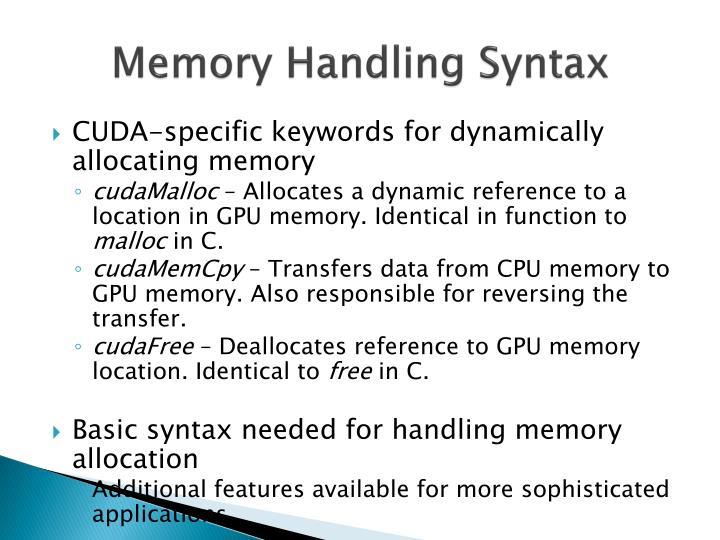 Memory Handling Syntax