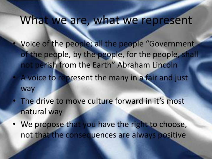 What we are what we represent