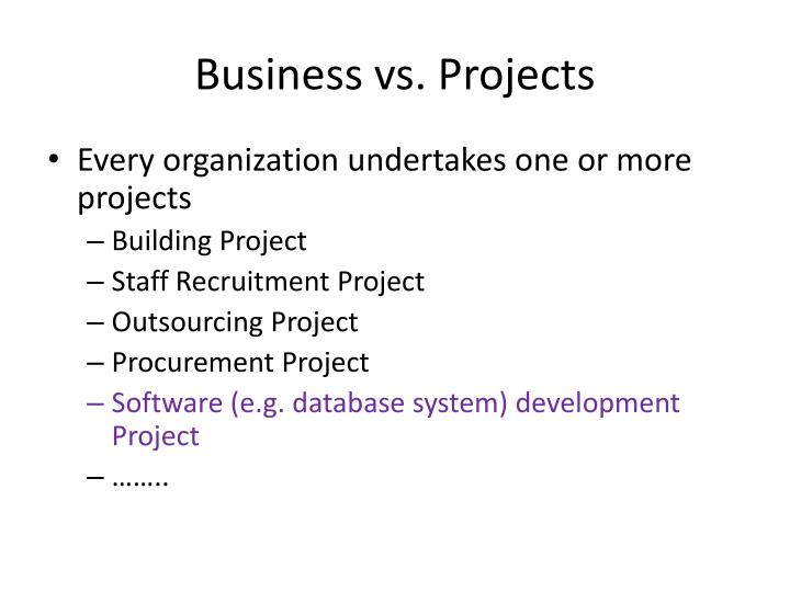 Business vs projects