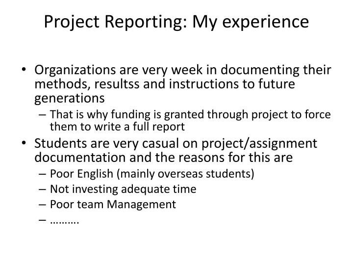 Project Reporting: My experience