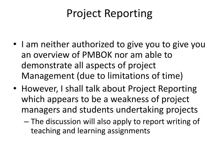 Project Reporting
