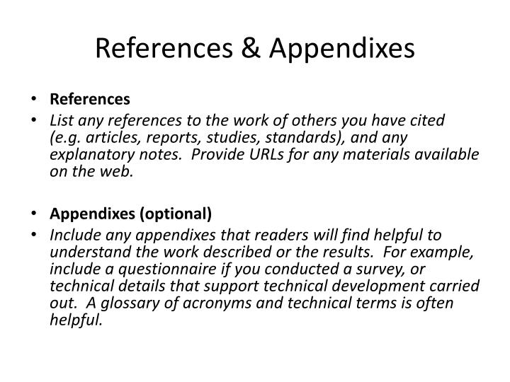 References & Appendixes