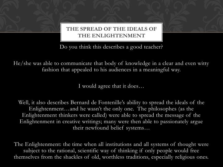 The Spread of the Ideals of the Enlightenment