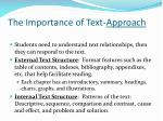 the importance of text approach