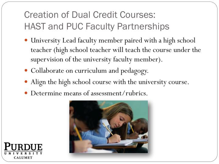 Creation of Dual Credit Courses: