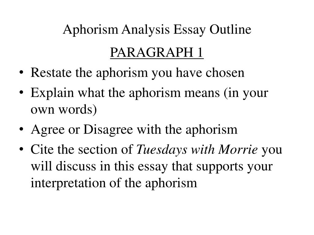 morries aphorisms